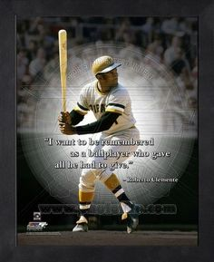 Roberto Clemente Pittsburgh Pirates 8x10 Black Wood Framed Pro Quotes Photo