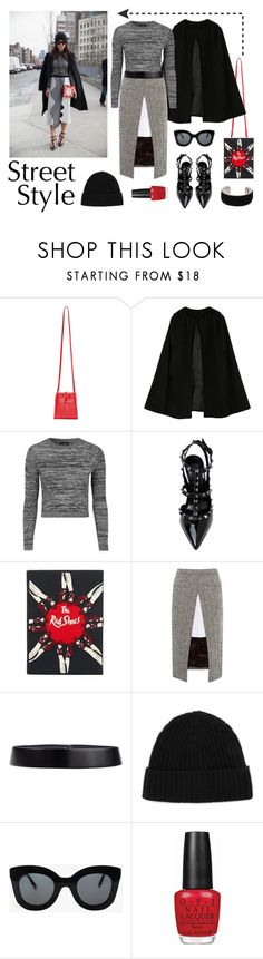 """""""Street Style at NYFW"""" by a-hint-of-nutmeg ❤ liked on Polyvore featuring Kara, Topshop, Olympia Le-Tan, Sacai, Jil Sander, Minnie Rose, CÉLINE, OPI, Isabel Marant and women's clothing"""