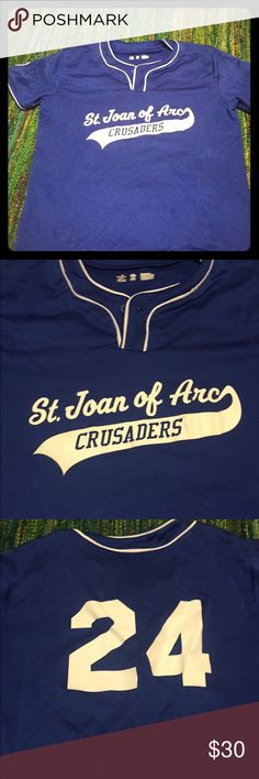 Bright blue baseball tee Says st. Joan of arc crusaders on the from and 24 on the back; classic cut baseball shirt Tops Tees - Short Sleeve