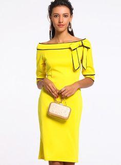 Color Block Bow Half Sleeve Knee-Length Bodycon Dress