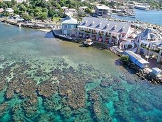Roatan, Honduras. My husband and I went here on our honeymoon and we loved it so much, we considered buying property there. They people are also amazing. They also have an international airport. AND it's 30 miles off the coast of Honduras so you are on an island with an awesome reef surrounding you.