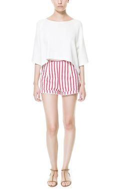 Image 1 of HIGH-WAIST STRIPED SHORTS from Zara