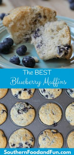 Homemade blueberry muffins with sour cream and fresh or frozen blueberries are a delicious treat for breakfast or snack-time. The unique baking technique helps render perfect moist blueberry muffins every time! Healthy Muffins, Healthy Breakfast Recipes, Brunch Recipes, Dessert Recipes, Fruit Recipes, Bread Recipes, Sweet Desserts, Muffin Recipes, Sweet Breakfast