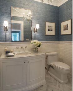 See more ideas about powder room storage toilet wall and tiny powder rooms. Even though powder rooms are small spaces they present the perfect opportunity to show off your design style. Here we highlight some of our favorite powder room . Bath Design, Home Design, Design Bathroom, Design Ideas, Design Inspiration, Bathroom Wallpaper Beach, Budget Bathroom Remodel, Bathroom Makeovers, Tub Remodel