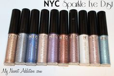 NYC Sparkle Eye Dust Review and Swatches - might try em, but they are really  shimmery..