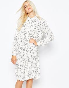 Monki Abstract Print Shirt Dress