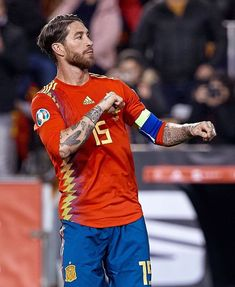 Sergio Ramos of Spain celebrates their second team's goal during the 2020 UEFA European Championships group F qualifying match between Spain and Norway at Estadi de Mestalla on March 2019 in. Get premium, high resolution news photos at Getty Images Uefa European Championship, European Championships, Ramos Real Madrid, Team Goals, Santiago Bernabeu, Football Love, Sports Celebrities, Sports Images, Cristiano Ronaldo