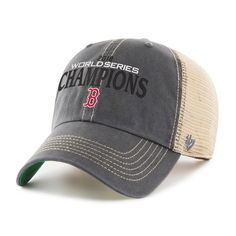 872ede703e1a2 Men s Boston Red Sox  47 Charcoal 2018 World Series Champions Trawler Clean  Up Trucker Adjustable Hat