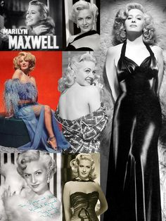 """Marilyn Maxwell (August 3, 1921 - March 20, 1972) was an American actress & entertainer noted for her blonde hair & sexy persona. She began as a radio singer while in her teens & signed with MGM in 1942. She entertained the troops (World War II & Korean War) on USO tours with Bob Hope. Allegedly, their long-term affair was so open that the Hollywood community routinely referred to her as """"Mrs. Bob Hope."""" The song """"Silver Bells"""" made its debut in The Lemon Drop Kid (1951), sung by Maxwell…"""