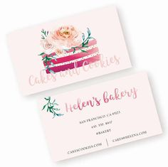 Editable Bakery business Card cupcake business card bakery logo