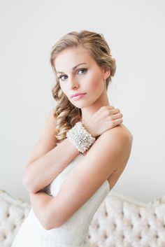 The perfect pearl & rhinestone statement bridal cuff. See more here: http://www.cloenoeldesigns.com