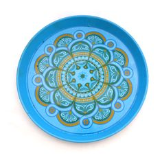 Worcester Ware Tray, Vintage Tray, Retro Blue Drinks Tray, Round Pat Albeck, Tray, Psychedelic 1970s Tray, Mid Century Tin Tray, Floral Tray by TwoTimeVintage on Etsy https://www.etsy.com/listing/230544299/worcester-ware-tray-vintage-tray-retro