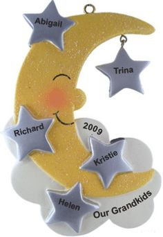 5 Grandchildren Moon & Stars - Personalized Family Christmas Ornament