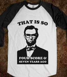 Hipster Abe (baseball shirt)