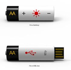 "USB/Battery by Wonchul Hwang. ""So you have a USB drive that you use quite often, so often that you keep it hooked to your computer most of the time. What added value can we give to that USB stick drive? How about doubling as a AA battery! """
