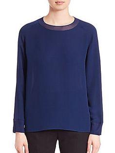 d49b57e05eeb50 Vince Jewelneck Long Sleeve Silk Top - Airforce - Size S Silk Top