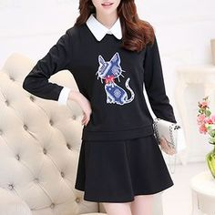 Buy Adeline Set: Cat Pullover   Pleated Skirt at YesStyle.com! Quality products at remarkable prices. FREE WORLDWIDE SHIPPING on orders over US$35.