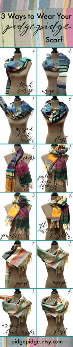 How to wear a scarf. 3 ways to style your handwoven pidge pidge scarf! Beautiful & modern, it'll look completely different depending on how you wrap it!