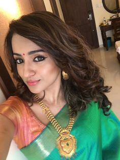 Trisha in Emerald Green Silk Saree - WORLD INSIDE THE ROOM