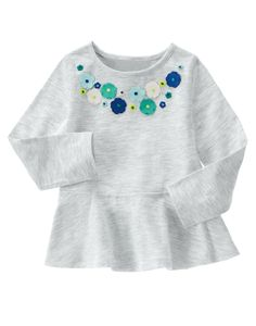 Floral Peplum Top at Gymboree (Gymboree Cute Outfits For Kids, Toddler Girl Outfits, Toddler Fashion, Boy Fashion, Fashion Clothes, Grace Clothing, Girl Dress Patterns, Sewing Patterns, Kids Frocks