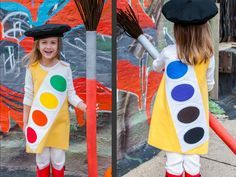DIY Halloween Costumes for Kids | Watercolor Paint Trayhide The narrow tray with ovals of watercolor paint is a part of growing up. Turn this classic childhood toy into a colorful costume. Top it off with a handmade French-inspired beret and a jumbo paintbrush made from a pool noodle. Design by Kathy Beymer