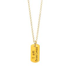 I am fearless small dog tag necklace, gold dippedI am fearless small dog tag necklace, gold dipped