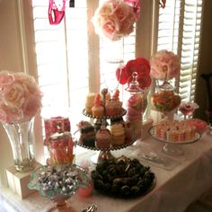Lingerie shower! Treat table-scrumptious cupcakes, chocolate covered strawberries, silky sleeping masks and goodies galore!