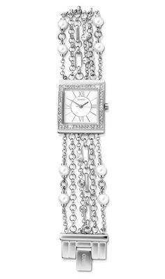Guess Silver and Cubic Zirconia Watch *Prices Valid Until 25 Dec 2013 I Love Jewelry, Gold Jewelry, Fine Jewelry, Square Watch, Silver Rings, Watches, My Favorite Things, Diamond, Bracelets