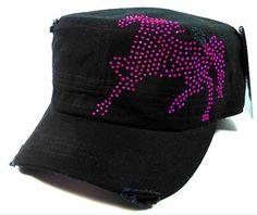 Hot Pink Galloping Horse Rhinestone Cadet Cap Hat