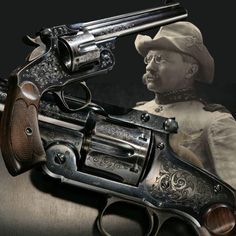 """THEODORE ROOSEVELT'S SMITH AND WESSON NEW MODEL NO. 3 REVOLVER: This revolver is attributed by Smith & Wesson factory records to future U.S. President Theodore Roosevelt. He most likely took delivery of this gun just prior to training his Rough Riders at San Antonio, Texas. This gun features """"combat target"""" sights and is one of only three or four known to have been chambered for the .38 U.S.Service caliber cartridge (.38 Colt)."""