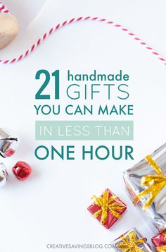 christmas list Think handmade gifts take a lot of time Think again! These 21 easy handmade gift ideas take less than an hour to make and are guaranteed to get those creative juices flowing. Knock out a bunch this weekend and get your Christmas list DONE. Diy Gifts Cheap, Easy Handmade Gifts, Diy Crafts For Gifts, Simple Gifts, Easy Gifts To Make, Decor Crafts, Unique Gifts, Christmas Gifts To Make, Christmas Diy