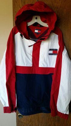 Vtg Tommy Hilfiger Colorblock Flag Hooded Jacket Pull over Windbreaker  jacket 53acde93e8