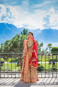Beautiful red bridal lehenga with raani haar. See more on wedmegood.com #wedmegood #indianwedding #indianbride #bridallehenga #lehenga #lehengacholi #raanihaar #necklace #red