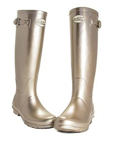 AWARD WINNING BOOTS Rockfish women's Wellies Champagne Metallic Finish, Natural  Rubber, 12 Month Guarantee