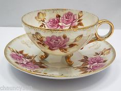 C-131 Tea Cup & Saucer Opalescent With Roses and Gold Design