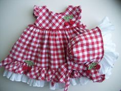 Red Cherries and Gingham Baby Dress and Bonnet ~ Set month) Toddler Girl Dresses, Toddler Outfits, Kids Outfits, Girls Dresses, Summer Dresses, Gingham Dress, Diy For Girls, Cherries, Baby Dress