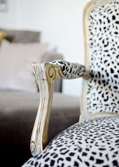 Love this idea, but would use different fabric Snow leopard French Bergere chair xo Leopard Print Chair, Cheetah Print, Teal Accent Chair, Bergere Chair, Settee, Ottoman, Cat Fabric, Take A Seat, White Decor