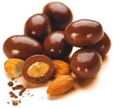 chocolate coated almonds (also called scorched almonds)