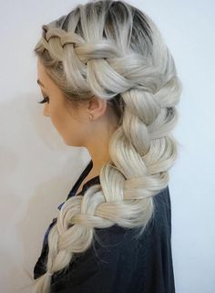 35 Fetching Hairstyles for Straight Hair to Sport This Season Long Chunky Side Braid Hairstyle Easy Side Braid, Top Braid, Side Braids, Braided Buns, Messy Buns, Curly Hair Styles, Natural Hair Styles, Straight Hair With Braid, Braided Hairstyles Tutorials