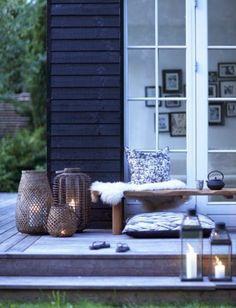 Aménagement terrasse extérieure en bleu...