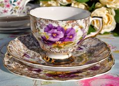 purple teacup trio | Vintage china in excellent condition. The tea plate measures 15.5cm.