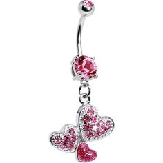 Pink Gem Trio of Hearts Belly Ring
