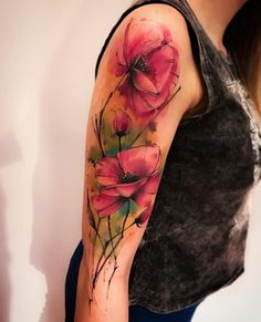 Poppy flower sleeve tattoo