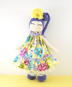 Amigurumi crochet doll  Gorgeous girl doll with by BubblesAndBongo