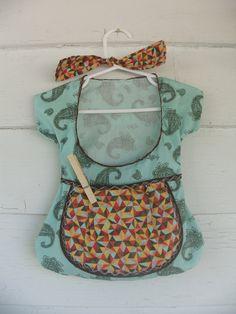 clothespin bag retro vintage inspired paisley geometric apron pocket bag. $15.00, via Etsy.