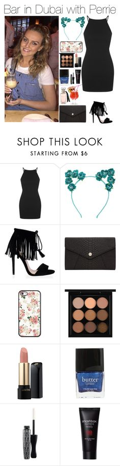 """""""Bar in Dubai with Perrie"""" by xhoneymoonavenuex ❤ liked on Polyvore featuring Topshop, Oroton, MAC Cosmetics, Lancôme, Butter London and Smashbox"""