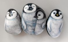 Adorable painted Rock penguins!!