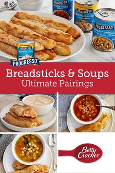 A hearty bowl of Progresso soup served hot with a crusty, flavor-packed breadstick makes for the perfect meal. Soup Recipes, Easy Recipes, Easy Meals, Crust Pizza, Pizza Dough, Homemade Breadsticks, Sausage Gumbo, Loaded Potato, Bowl Of Soup