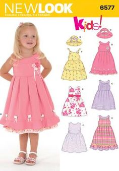 Toddler Dresses and Hat Sewing Pattern 6577 New Look