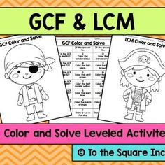 GCF and LCM Color and Solve Differentiated No Prep ActivitiesLooking for a fun and engaging, no prep activity to get your students practicing GCF and LCM?! Check out these color and solve activities! Each page includes 7 practice problems. Once students find their answers, they are directed to color each part of the picture a different color.